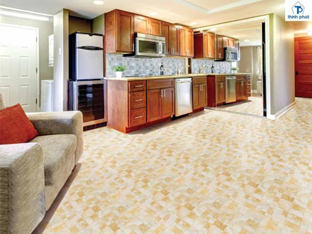 Lựa chọn màu gạch sáng cho không gian bếp
